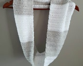 Grey and White Infinity Scarf - Crochet Cowl  - Crochet Scarf - Infinity Scarf -