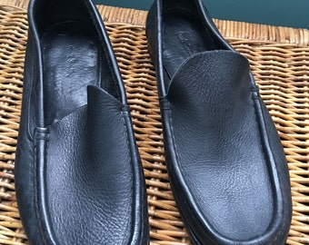 """Mens black leather shoes loafer slip on driving shoes sz 42  US 9/9.5"""""""