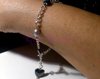 Bracelet chain with freshwater pearls and hearts Hematite