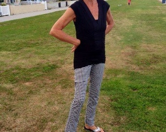Skinny pants...ponte knit...black and white houndstooth print...so classy and so fun...and oh so comfortable!  Small