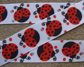 "Red Ladybug Printed Ribbon 7/8"" Grosgrai Ribbon for Hair Bows  Bug Ribbon Hair bow ribbon"