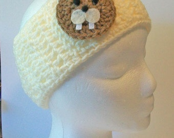 Trendy Cream Ivory Tan Beaver Hand Crocheted Headband Ear Warmer Child & Adult Sizes Available