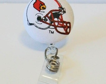 Fun Red and White Cardinals Football Helmet Fabric Button Retractable Badge Reel Clip