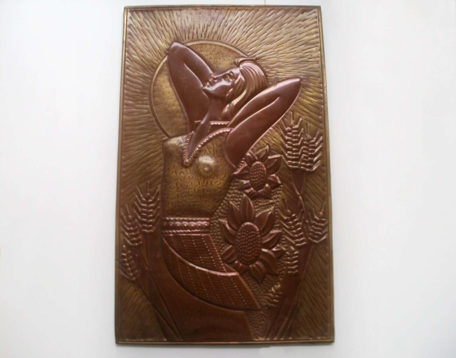 Copper wall art ooak embossing stamp wall plaque metal wall for Copper wall art