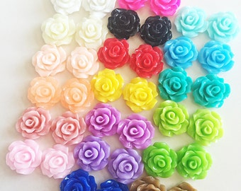 38 Pcs, Resin Flower Cabochons, Rose, 10mm, 19 Different Colors, RR3810
