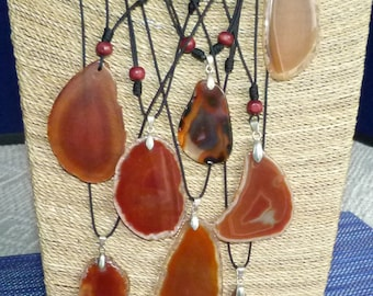 Say It in Stone: Carnelian/Sardonyx Pendant on Hand Knotted Cord