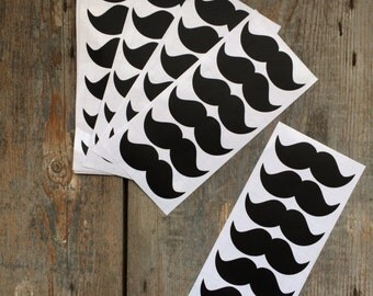 9 x 12 Stickers Sticker 3 cm Whiteboard Black Moustache moustache