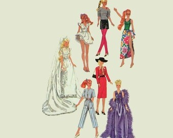 Vintage Barbie Patterns / UNCUT Simplicity 6507 Barbie Patterns 80s Barbie Doll Clothes Pattern / Vintage Sewing Patterns Doll Patterns