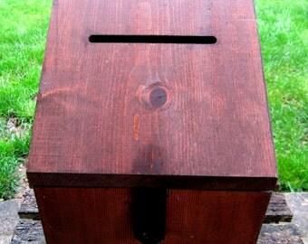 Wedding Card Box Ballot Large Wood With Slot Locking Rustic