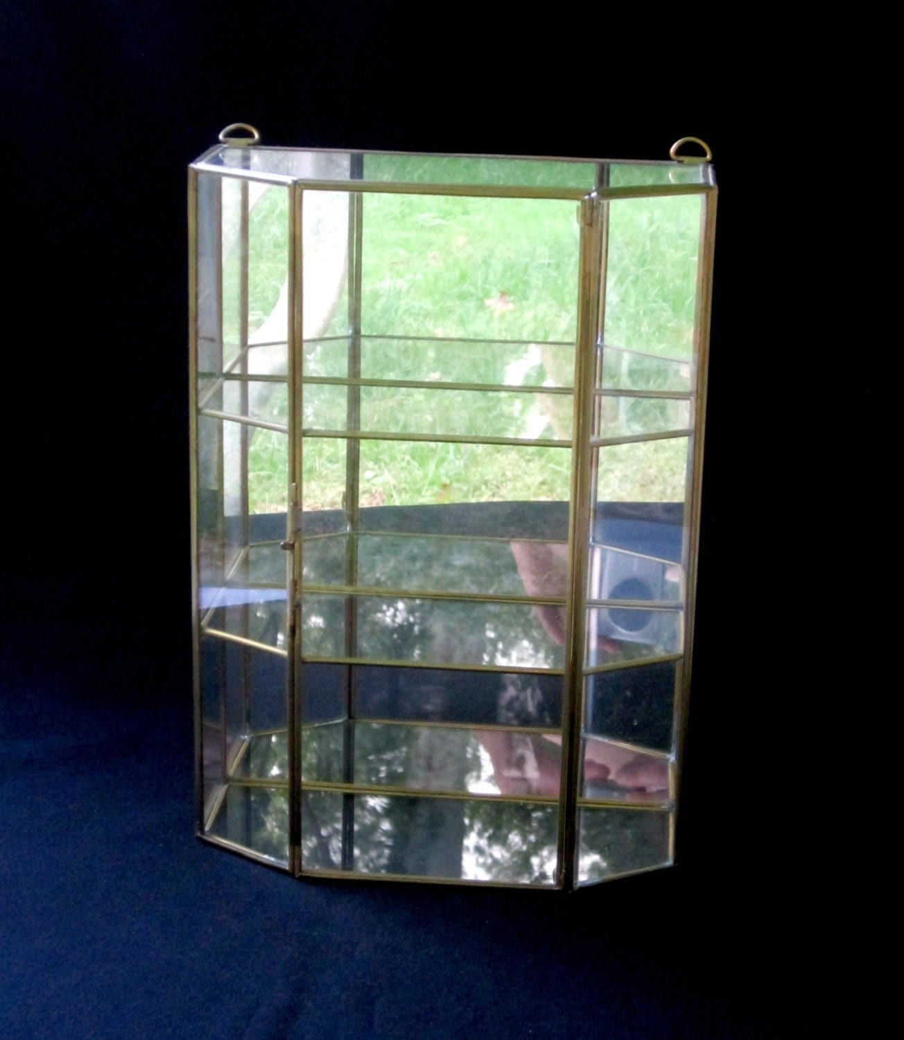 Clear Glass Vintage Curio Cabinet Glass Display Case Trinket