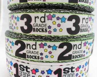 "1"" Kindergarten Rocks-First Grade Rocks-Second Grade Rocks-Back to school Printed Grosgrain ribbon"