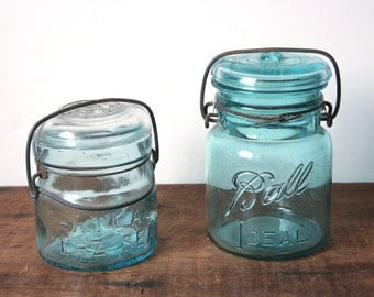 Aqua Ball jar, Atlas jar, pair of canning glass jars