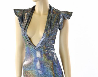 Silver Holographic Plunging V Neck Romper with Flip Sleeves Rave Festival Onsie 152304