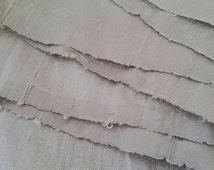 Silver Shimmer Silk Ribbon by the metre. Upcycled Dupioni Silk Selvedge Offcut Fabric, Crisp, Slubby, Wide Pale Grey Sari Silk Ribbon Yarn