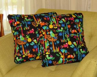 Retro Tiki Tropical Jungle Birds Parrot Toucan Pillow Covers, Hand Made by Tiki Queen
