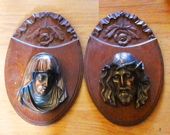 Fabulous Pair of French Devotional Plaques of Jesus and Mary - Copper on Oak