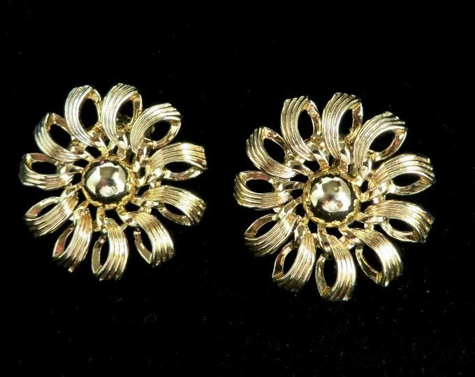 Vintage Kramer Flower Earrings, Gold Tone Pinwheel Clip-on Earrings