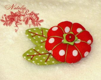 Textile brooch. Fabric brooch. Cloth brooch. Christmas  Flower brooch.