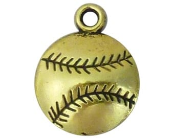 12 Gold Baseball Charm Pendant 19x14mm by TIJC SP1262