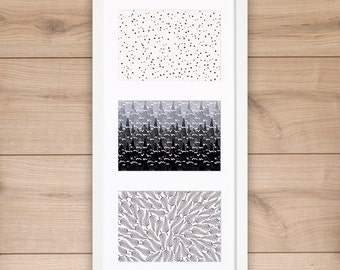 Art print trio stamped, 3 black and white simple modern giclee prints on archival bamboo fine art paper, stars, trees, mountains, ferns