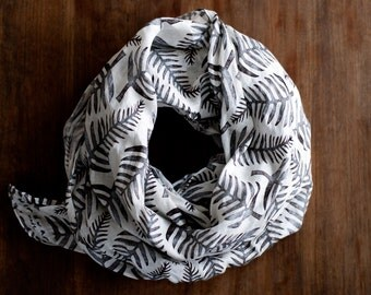 Linen scarf: stamped ferns, grey leaves, patterned nature design, eco friendly block printed shawl, sustainable fashion foliage