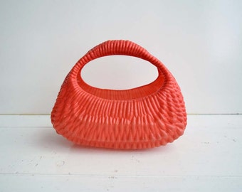 Vintage Soviet Era Kids Red Plastic Basket