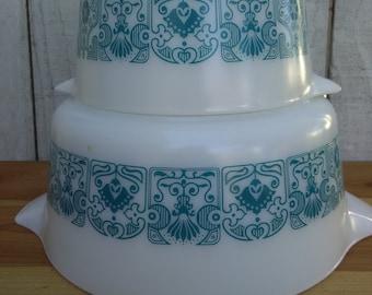 Vintage Pair Blue Horizon Pyrex Casserole Dishes