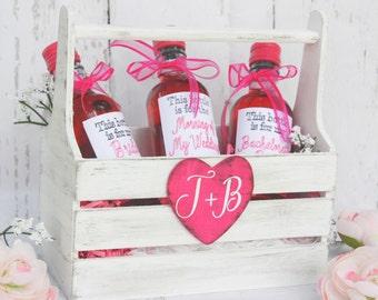 Engagement Gift Wine Crate Bridal Shower Gift Flower Girl Basket
