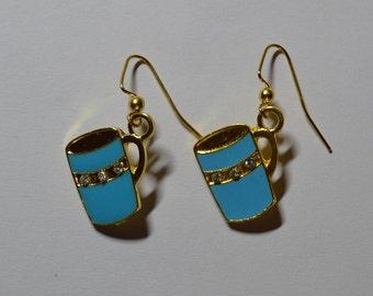 Blue Cocoa Mug Earrings