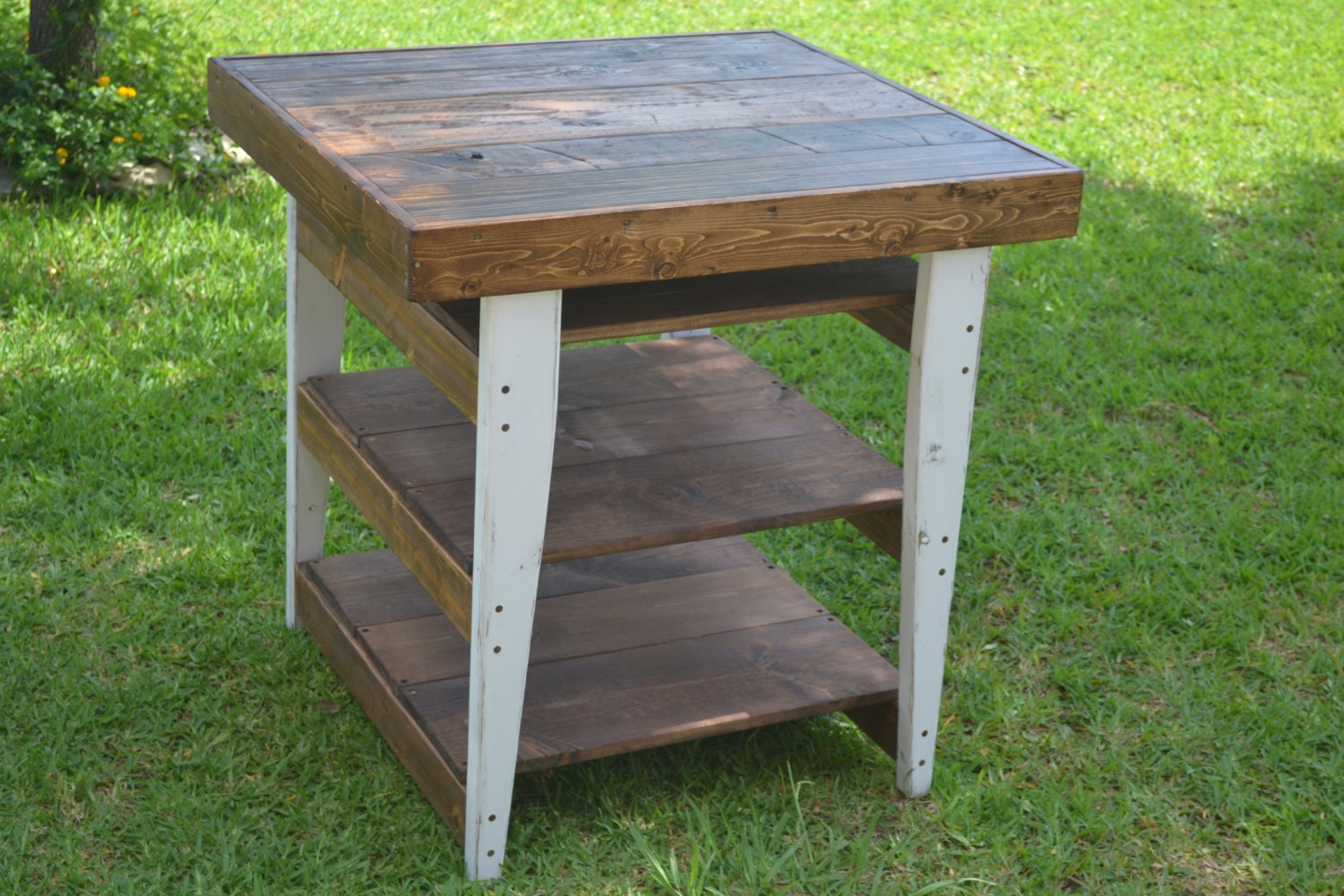 Custom Wood Kitchen Prep Table With Storage Shelves & FREE