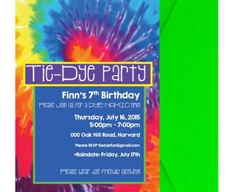 Tie Dye Party Invitation - Tie Dye Birthday Party Invitation - Tie Dye Birthday Party Invite - Tie Dye Party Invite - Groovy - 60's Digital