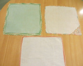 Vintage Handkerchiefs with embroidered edges  FREE SHIPPING