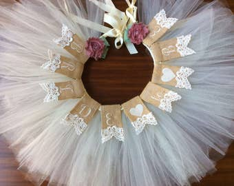 Bride to be chair banner  with veil tutu,  Shabby Chic, Bridal Shower Decor, Wedding, Banner Garland