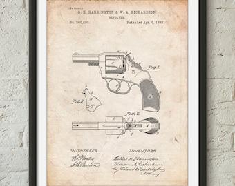 Revolver Pistol Patent Poster, Gun Enthusiast, Hand Gun, Police Officer Gift, Firearm, PP633