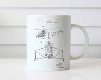 S-47 Helicopter Patent Mug, Aviation Decor, Helicopter Pilot, Aviation Nursery, Helicopter Mug, PP0028