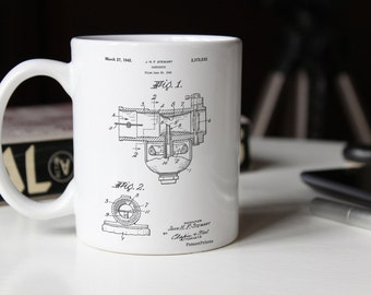 Indian Motorcycle Carburetor Patent Mug, Car Part Mug, Motorcycle PMugs, Motorcycle Mug, Automotive Decor, Mechanic Gift, PP0891