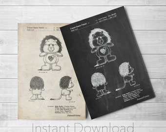 Lion Care Bear Printables, Patent Art, Blueprint, Patent Print, PatentPrints PP0679