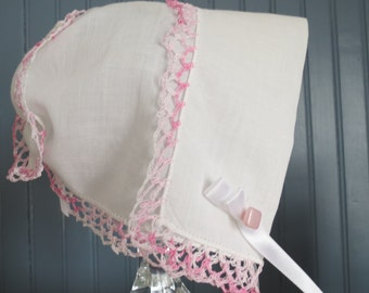 Sweet vintage hanky bonnet with delicate pink crochet trim with keepsake storage sachet-unique baby shower gift for Christening or baptism