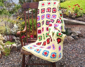 Vintage Granny Square Afghan Handmade Crochet Yellow 47 x 55 inches