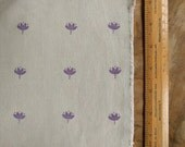Listing for Chris: Hand block printed fabric | Indian lotus flower hand carved block, hand printed on cotton canvas in grape.