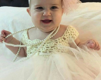 Crochet and tulle baby princess dress
