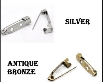 Brooch Iron Back Bar Pins 20mm x 5mm x 5mm Antique Bronze & Silver