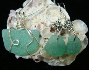 Sea Green Sea Glass Necklace & Earring Set