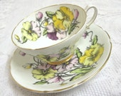 """Vintage Stanley China Cabinet Cup and Saucer, """"Pansies"""", Hand Coloured, Signed"""