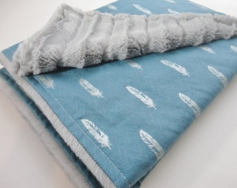Clearance! Minky Baby Blanket - Silver Feathers - Gender Neutral - Ready to Ship