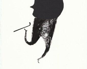 Solo No10. papercut, ink, primative, folk art