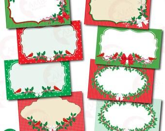 Christmas Clipart, Christmas Digital Tags, Christmas Labels, Holly tags, Christmas labels,  Gift Tags, Printable Gift Tags, AMB-1500