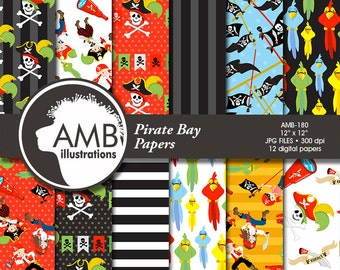 Pirate digital papers, Nautical papers, Pirate Party, Pirate background, Pirate pattern, commercial use, AMB-179