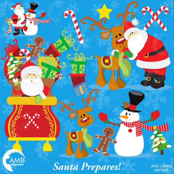 Christmas Clipart, Santa Claus and Reindeer Clipart ...