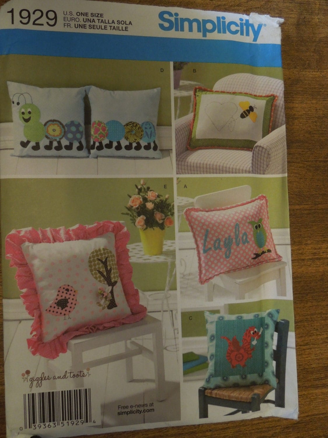 easy crafts idea simplicity 1929 pillows sewing pattern craft 1929